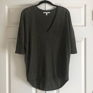 Elbow sleeve v-neck sweater in Olive green